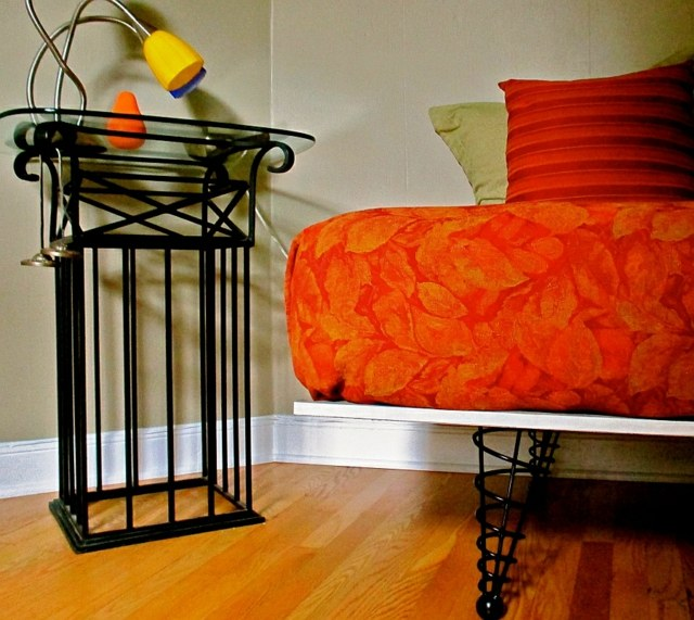 pied de meuble canape divan orange fer metal forge