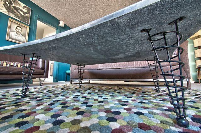 pied de table dessous spirale cone beton plateau