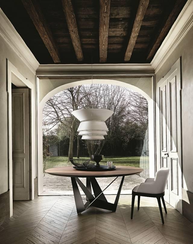 table salon design ronde bois
