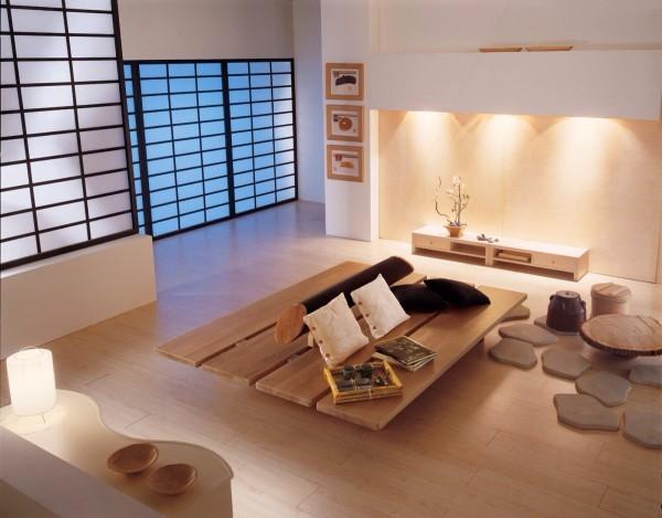 bois massif table style minimaliste salon zen