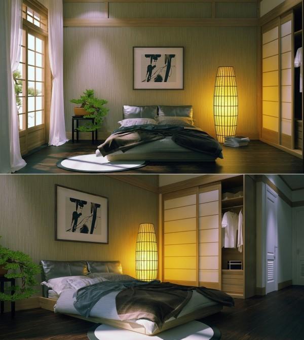 chambre coucher japonaise lit bonsai