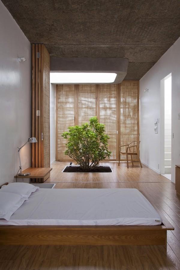 chambre coucher lit japonais decoration bonsai