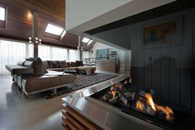 cheminee salon style moderne