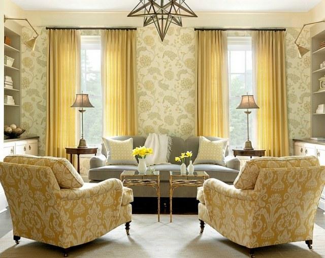décoration intérieur fauteuil jaune dore rideaux