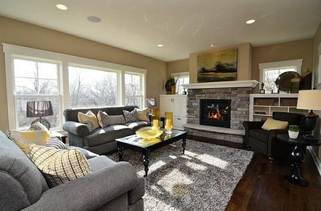 décoration intérieur fenetre gris sejour cheminee