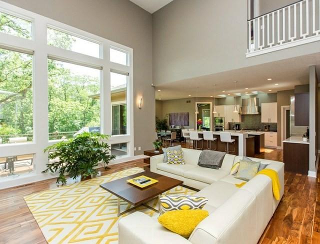 décoration intérieur sejour canape gris jaune