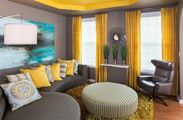 décoration intérieur table basse coussin jaune