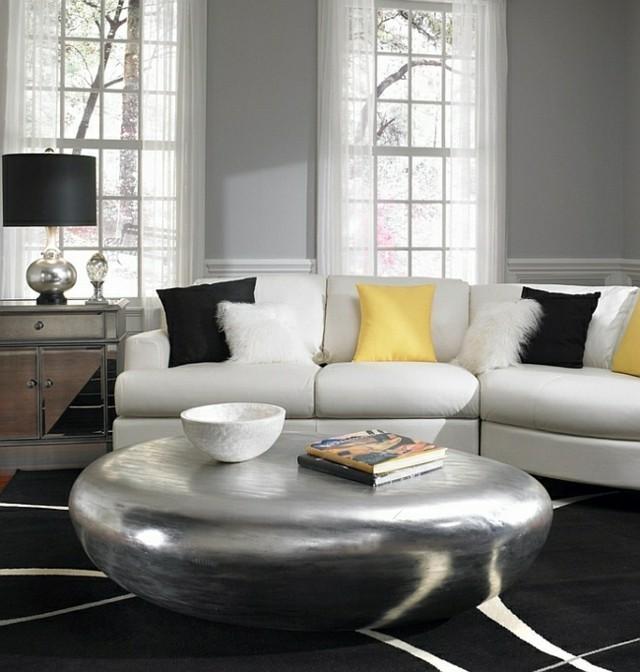 décoration intérieur table ronde sejour coussins