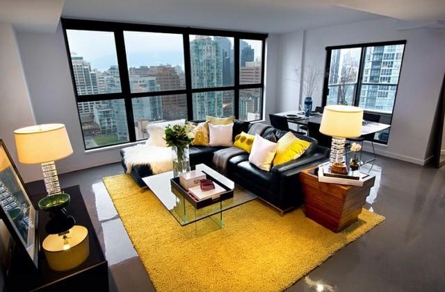 décoration intérieur tapis jaune sejour vue