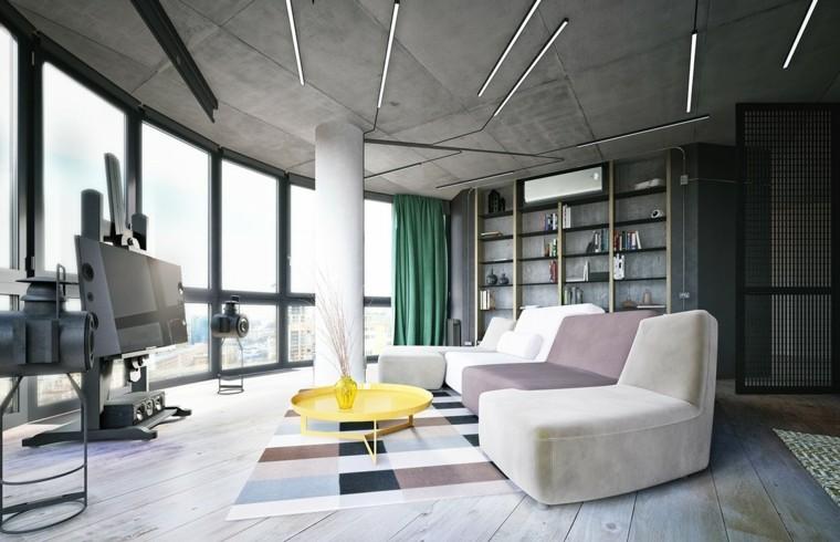 décoration intérieur salon idée canapé jaune tapis sol design