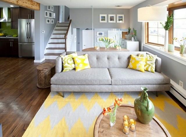 Décoration intérieur – la combinaison gris et jaune, le ...