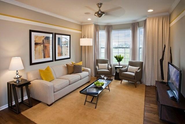interieur design sejour bow window jaune