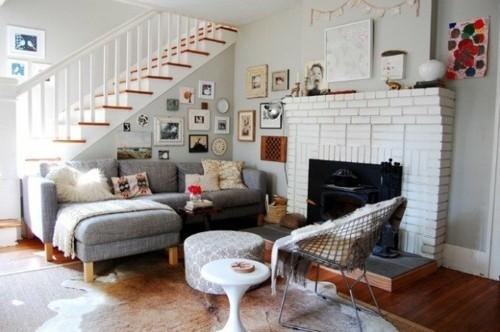 interieur design sejour scandinave escalier cheminee