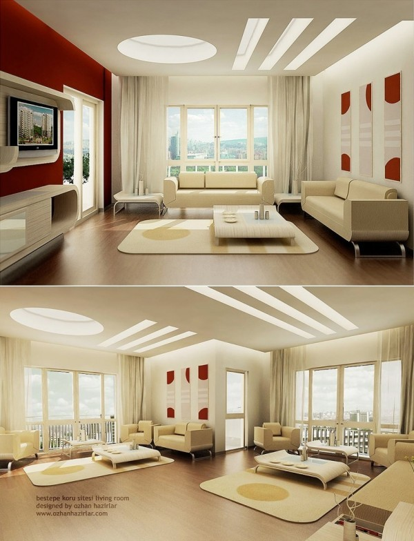 interieur moderne beige blanc rouge fente