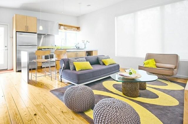 interieur moderne calme gris jaune tabouret