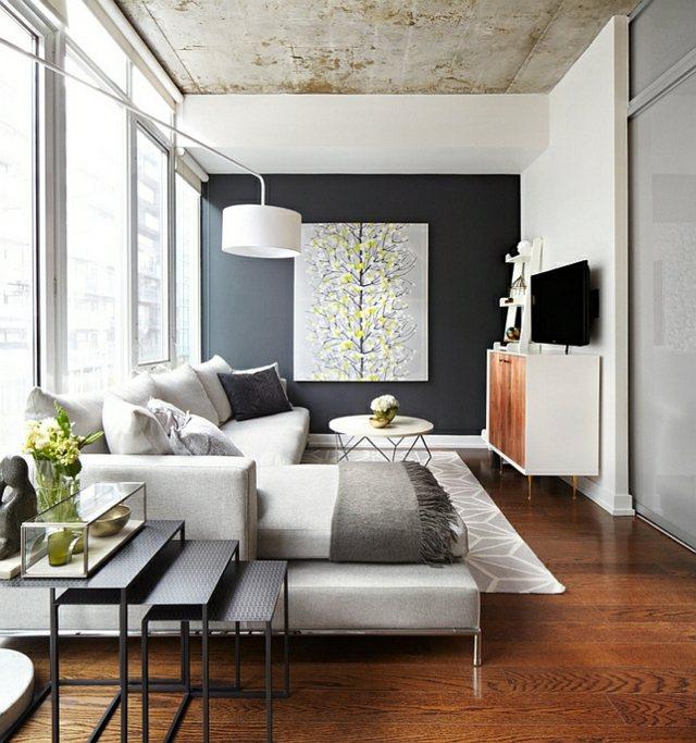 interieur moderne plafond beton lampadaire canape
