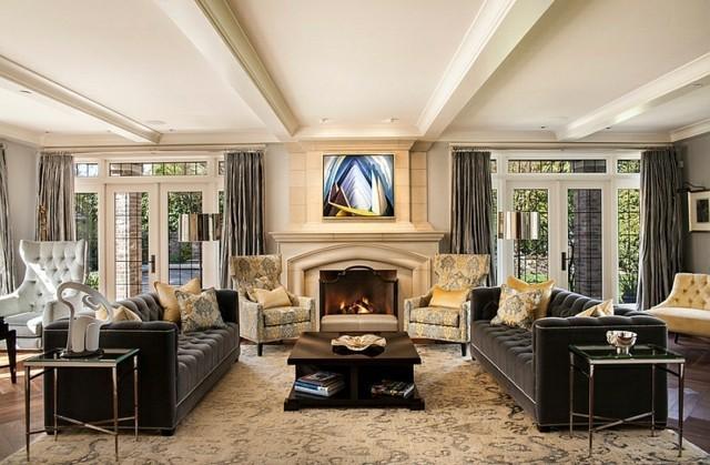 interieur retro symetrie canape cheminee cuir