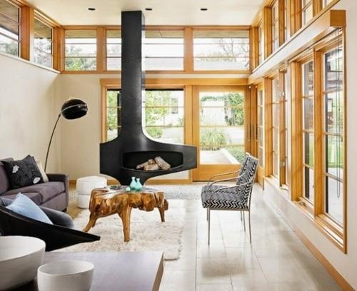 interieur scandinave cheminee suspendue menuiserie bois