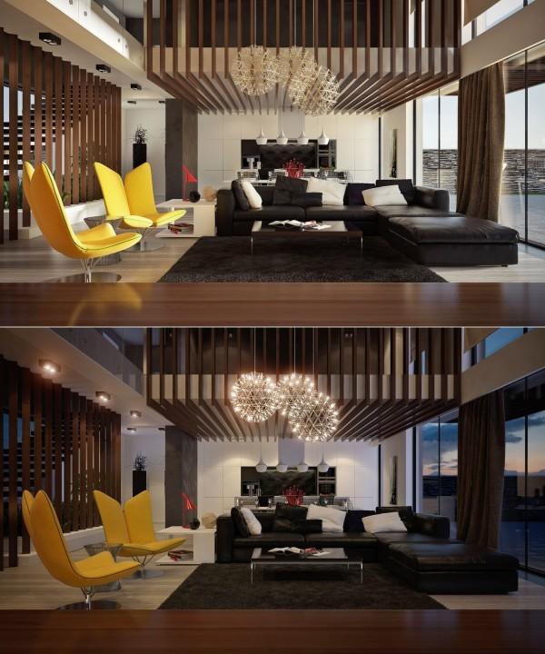 interieur sejour moderne double hauteur lame bois