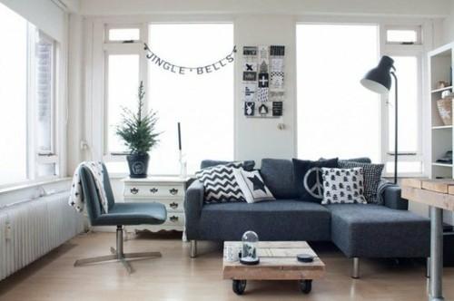 interieur sejour scandinave canape lampadaire fauteuil