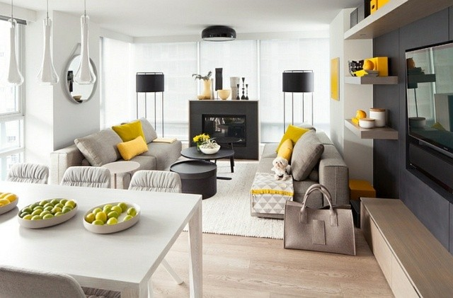 interieur ultra moderne blanc lumineux cheminee