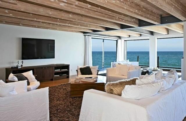 plafond salon poutres bois