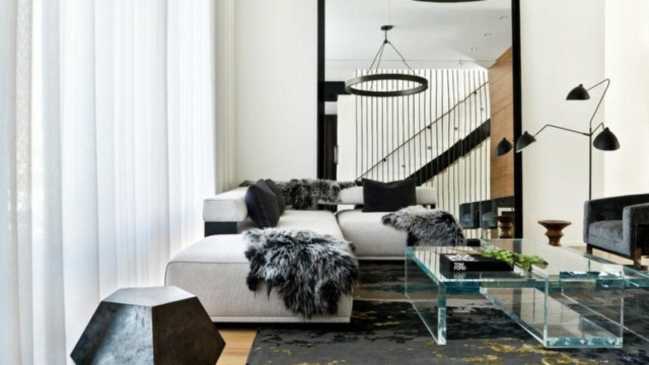 Salon Noir Blanc Jaune le séjour – 140 idées design pour l'aménager - decoration