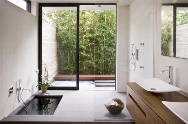 salle bain vue jardin bampou