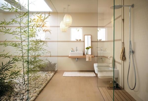 salle baine style japonaise verre bambou