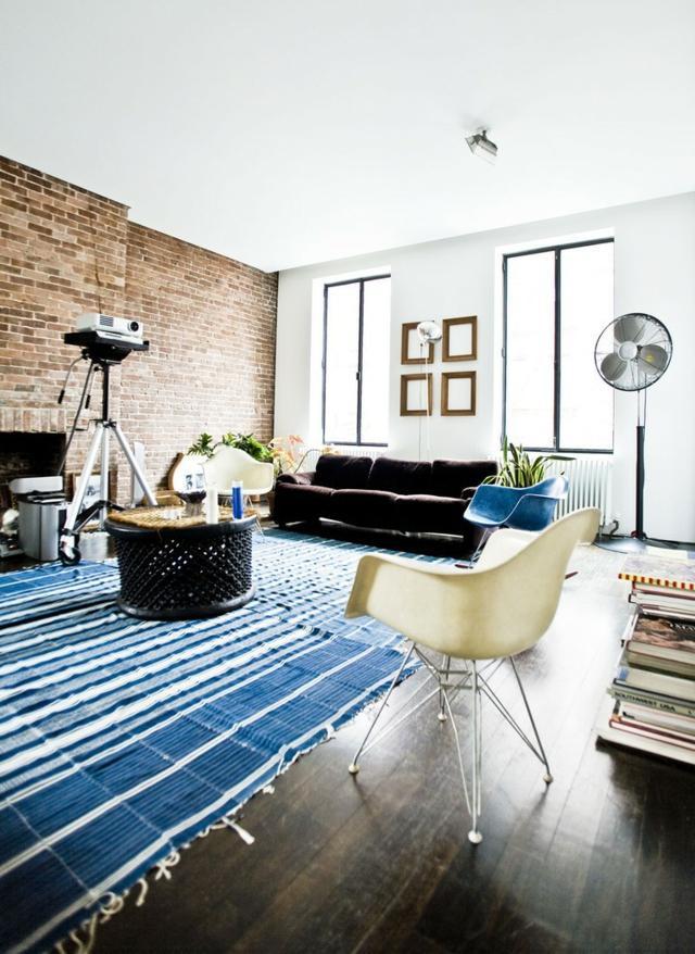 salon deco tapis bleu