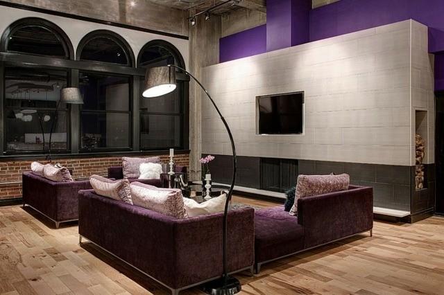 salon meubles violets