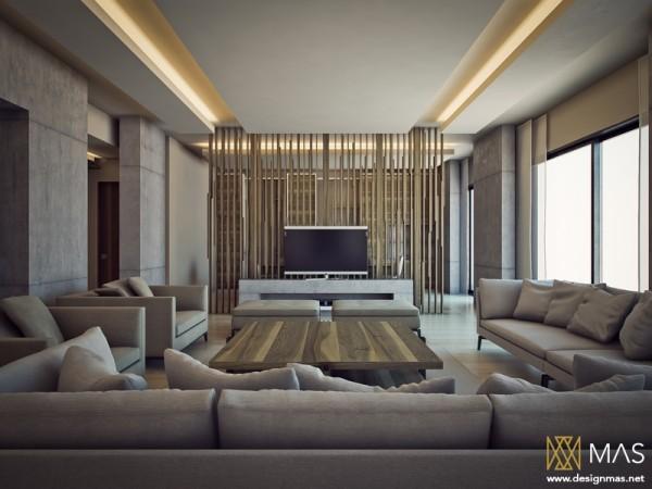 salon moderne ilot filtre bois lames canape