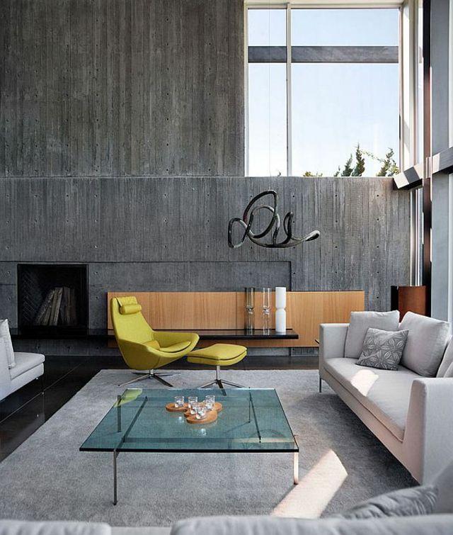 salon murs beton