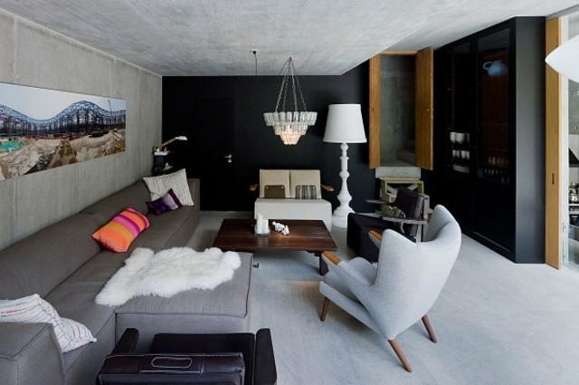 salon murs noirs