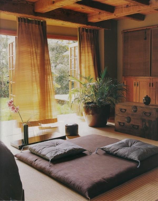 salon vue terrase style japonaise zen