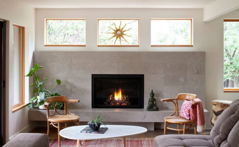 salon-zen-couleur-neutre-chaises-bois-cheminee - Decoration ...