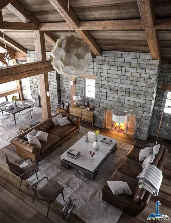salons moderne bois pierre chalet canape