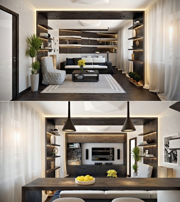 salons moderne canape rideau etagere bois
