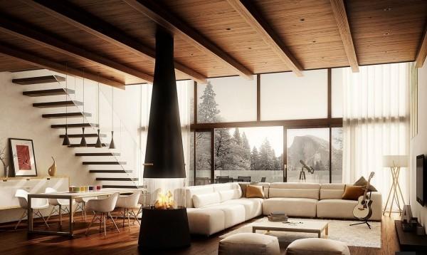 salons moderne cheminee centrale bois poutre