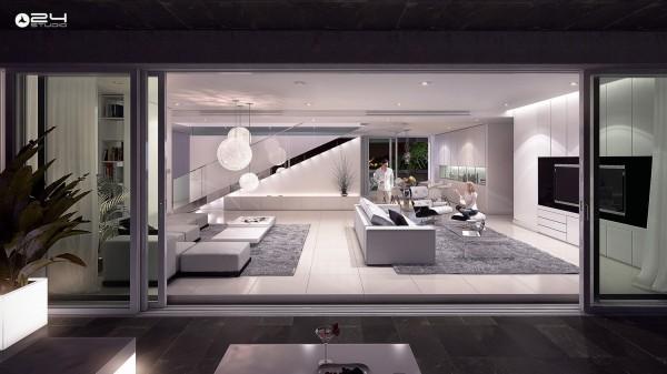 salons moderne design ouverture fenetre glissante