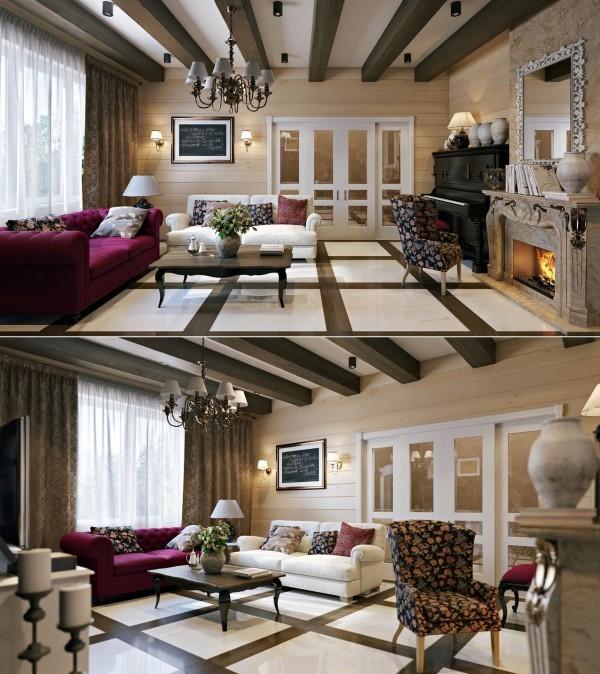 salons retro eclectique manteau cheminee pourpre