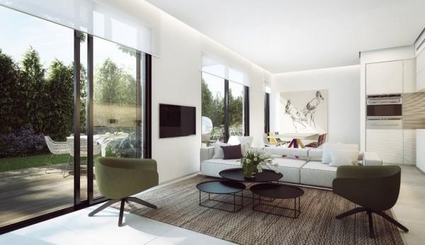 sejour blanc baie vitree moderne ouvert