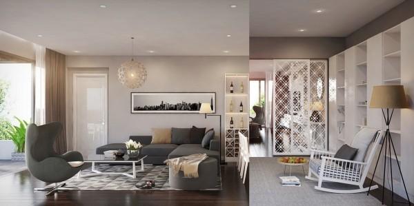 sejour design interieur moderne blanc etagere