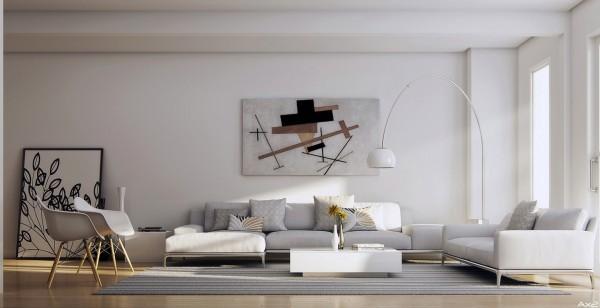 sejour design minimal blanc lampadaire canape