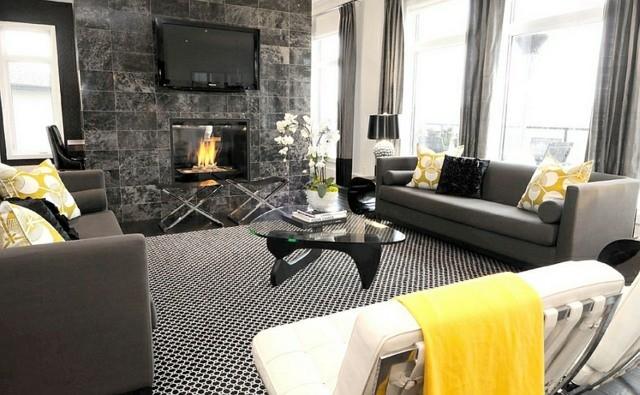 sejour kitsch jaune noir gris cheminee