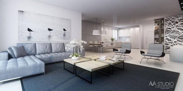 sejour moderne design minimal resille tapis