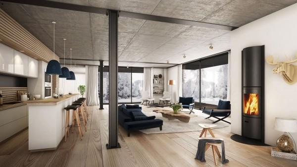 sejour moderne design parquet beton cheminee