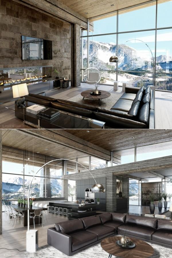 sejour moderne montagne baie vitre verre bois