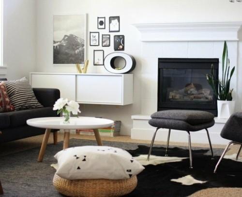 style scandinave sejour cheminee blanc noir pouf