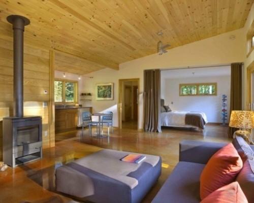 style scandinave sejour toit pente bois